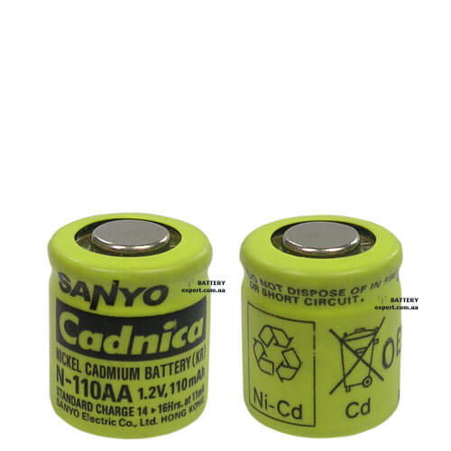 Sanyo Cadnica N110AA110mAh, Ni-Cd, 1.2v